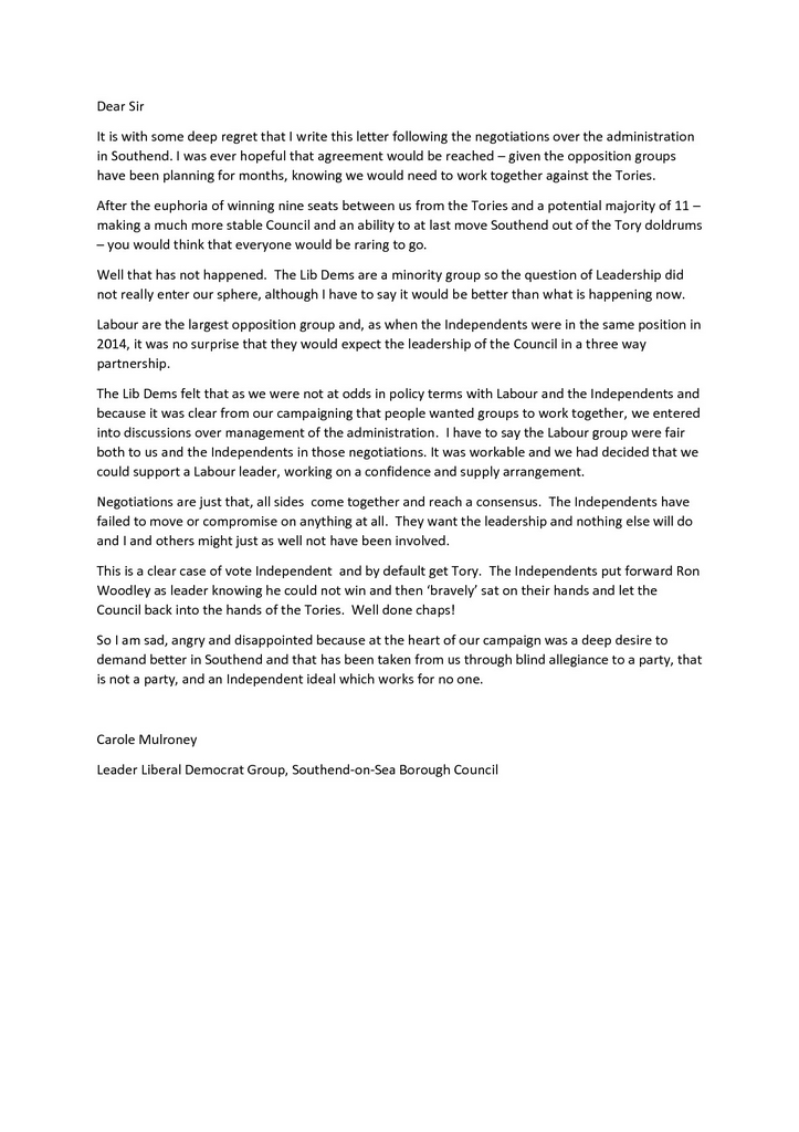 Carole Mulroney's letter to the Southend Echo & Leigh Times re administration May 2019 (Carole Mulroney)