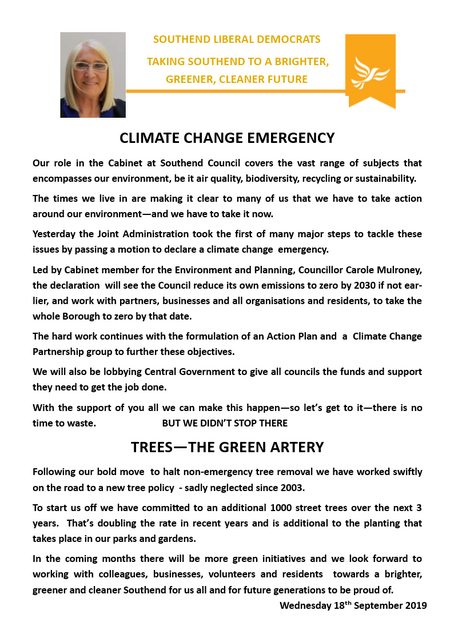 Climate Change press release 18th September 2019 ()